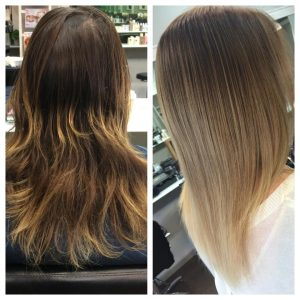 olaplex by sarah a before  after ombre