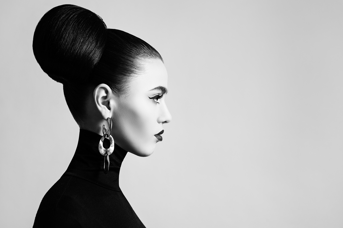 Profile of woman with a hair bun